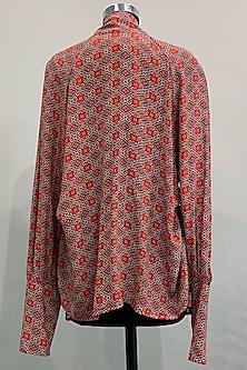 Red Printed Shirt With Ivory Shorts by Nikita Mhaisalkar