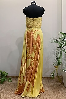 Yellow Printed Gown With Sheer Panel by Nikita Mhaisalkar