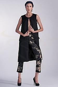 Black Crepe Jacket by Nikita Mhaisalkar