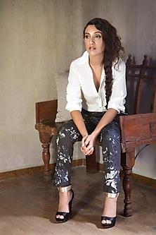 White Embroidered Shirt With Black Pants by Nikita Mhaisalkar