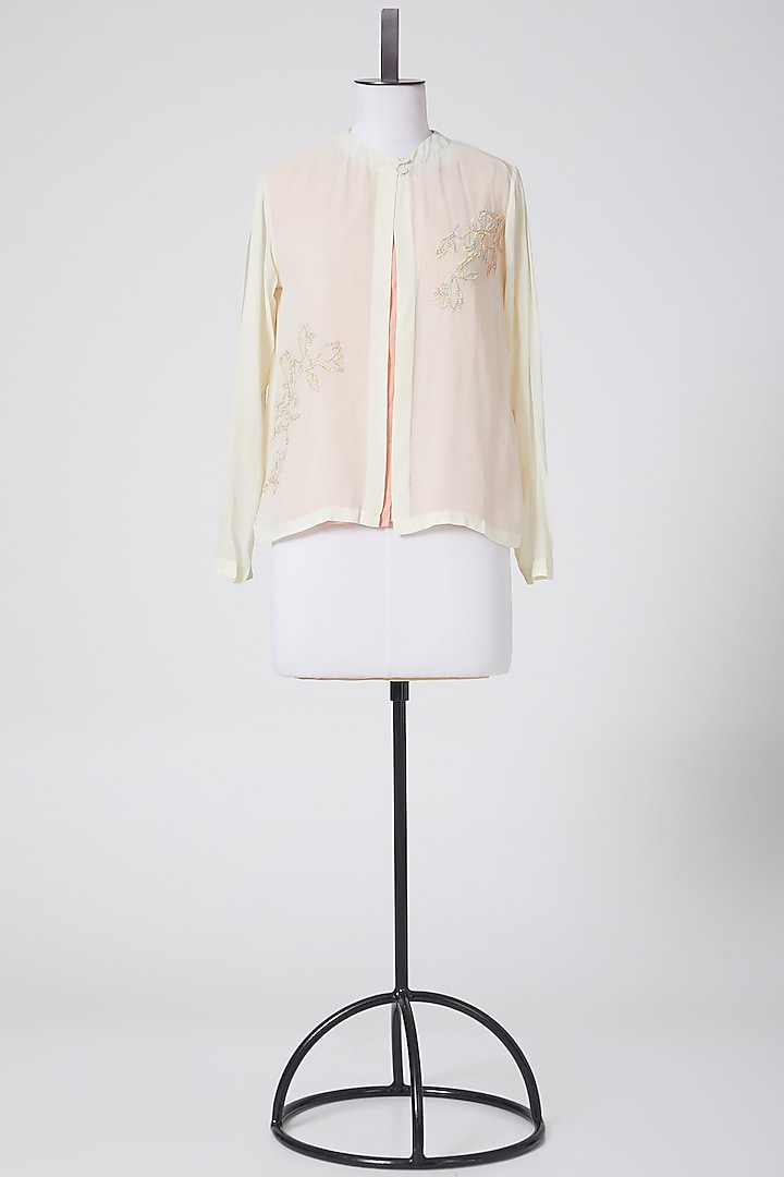 White Floral Embroidered Shirt by Nineteen89 By Divya Bagri