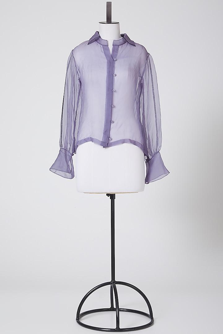 Purple Sheer Organza Shirt by Nineteen89 By Divya Bagri