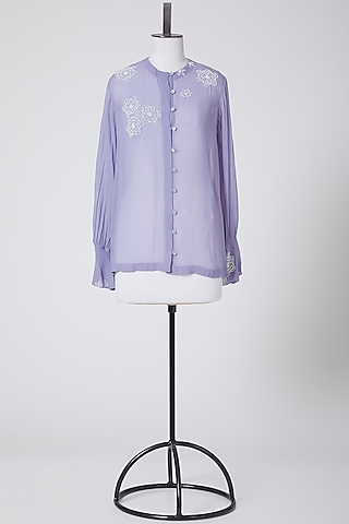 Powder Blue Embroidered Shirt by Nineteen89 By Divya Bagri