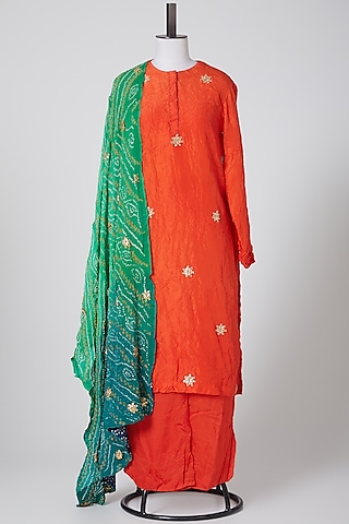 Orange & Green Embroidered Kurta Set by Nineteen89 By Divya Bagri