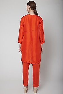 Orange Embroidered Kurta Set by Nineteen89 by Divya Bagri