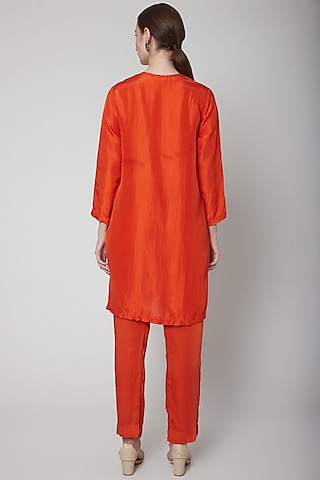 Orange Embroidered Kurta Set by Nineteen89 by Divya Bagri