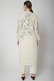 Off White Embroidered Kurta by Nineteen89 by Divya Bagri
