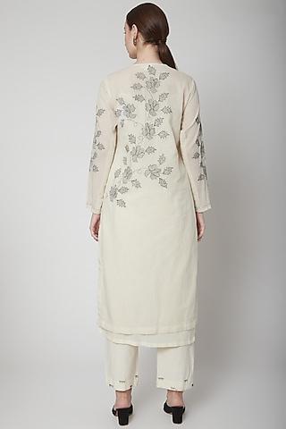 Off White Embroidered Kurta by Nineteen89 by Divya Bagri