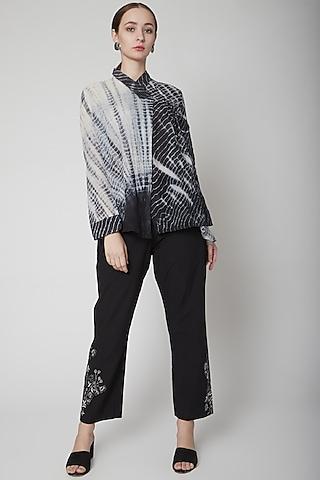 Black Shirt With Shibori Print by Nineteen89 by Divya Bagri
