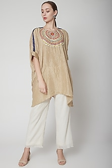 Beige Embroidered Kurta With Pants by Nineteen89 by Divya Bagri