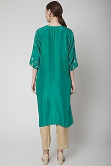 Emerald Green Embroidered Kurta With Pants by Nineteen89 by Divya Bagri