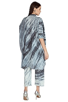 Black Hand Tied Shibori Kaftan With Pants by Nineteen89 by Divya Bagri
