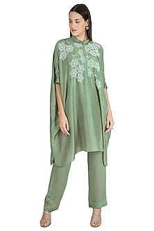 Olive Green Embroidered Kaftan With Pants by Nineteen89 by Divya Bagri