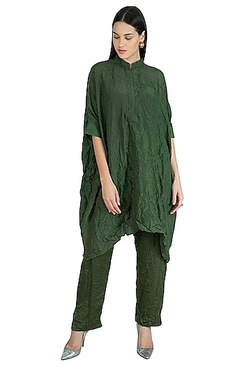 Military Green Embroidered Crushed Kaftan With Pants by Nineteen89 by Divya Bagri