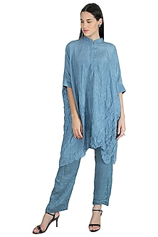 Bluish Grey Embroidery Kaftan With Pants by Nineteen89 by Divya Bagri