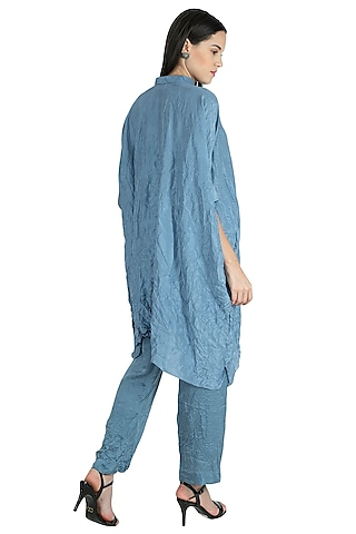 Bluish Grey Embroidery Kaftan With Pants by Nineteen89 by Divya Bagri