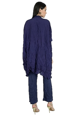 Indigo Blue Hand Embroidered Kaftan With Pants by Nineteen89 by Divya Bagri