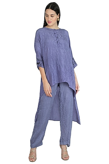 Greysih Blue Embroidered Asymmetric Top With Pants by Nineteen89 by Divya Bagri