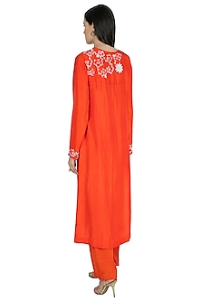 Coral Embroidered Kurta Set by Nineteen89 by Divya Bagri