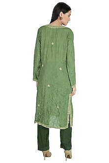 Olive Green Embroidered Kurta by Nineteen89 by Divya Bagri