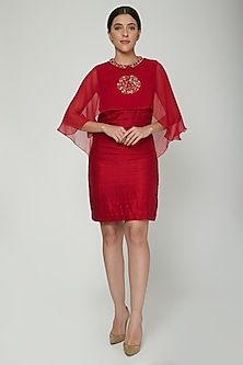 Red Embroidered Collared Dress With Layer by NITISHA