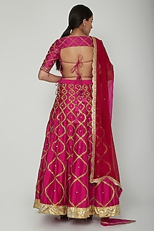 Fuchsia Embroidered Lehenga Set by NITISHA