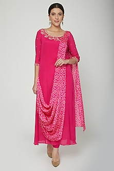 Fuchsia Pink Embroidered & Printed Kurta Set by NITISHA