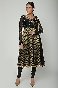 Black Embroidered Anarkali Set by NITISHA