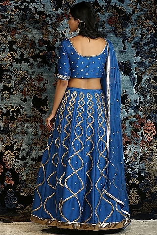 Blue Hand Embroidered Lehenga Set by NITISHA