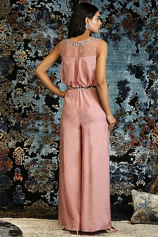 Dusky Pink Hand Embroidered Jumpsuit by NITISHA