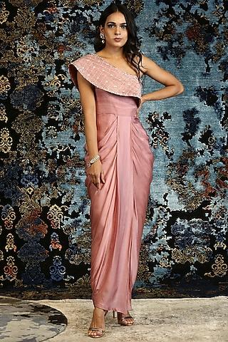 Dusky Pink Hand Embroidered Draped Dress by NITISHA