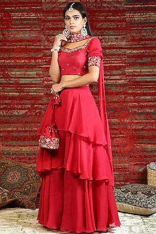Ruby Red Hand Embroidered Lehenga Set by NITISHA