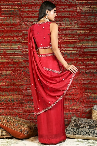 Ruby Red Hand Embroidered Pre-Stitched Saree Set by NITISHA