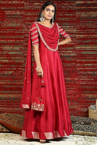 Ruby Red Hand Embroidered Anarkali Set by NITISHA