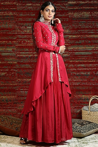 Ruby Red Hand Embroidered Jacket Set by NITISHA