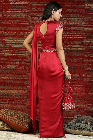 Ruby Red Floral Embroidered Pre-Stitched Saree Set by NITISHA