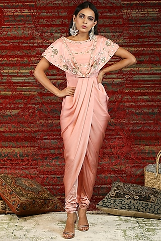 Blush Pink Floral Hand Embroidered Draped Dress by NITISHA