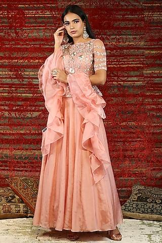 Pink Embroidered Anarkali Set by NITISHA