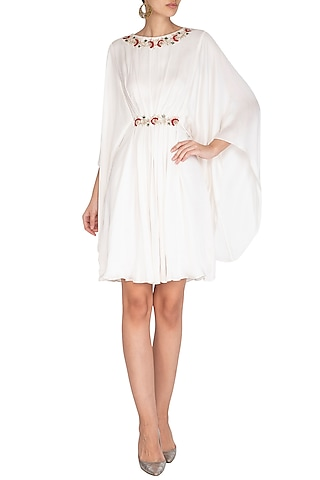 Off White Embroidered Pleated Dress by NITISHA