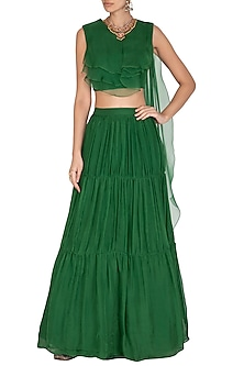 Emerald Green Skirt & Crop Top With Attached Drape Dupatta by NITISHA