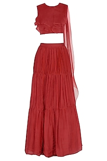 Red Skirt & Blouse With Attached Drape Dupatta by NITISHA