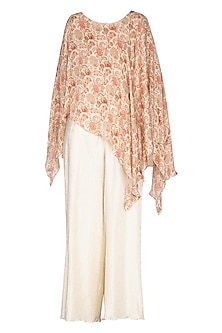 White Printed Top With Palazzo Pants by NITISHA