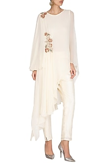 White Draped Tunic With Pants by NITISHA