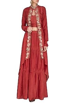 Red Embroidered Jacket Lehenga Set by NITISHA