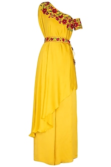 Yellow Embroidered One Shoulder Tunic With Palazzo Pants by NITISHA