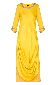 Yellow Tunic With Embroidered Printed Scarf by NITISHA