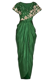 Emerald Green Embroidered Drape Dress by NITISHA