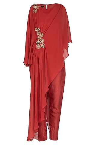 Red Embroidered Drape Tunic With Pants by NITISHA