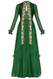 Emerald Green Embroidered Jacket Lehenga Set by NITISHA