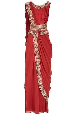 Red Embroidered Drape Saree Gown by NITISHA